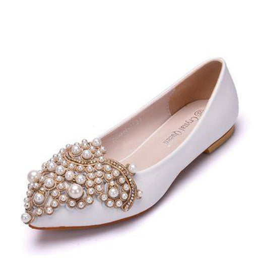 Elegant String Bead Crystal Wedding Flats | Bridelily - WHITE / 34 - wedding flats