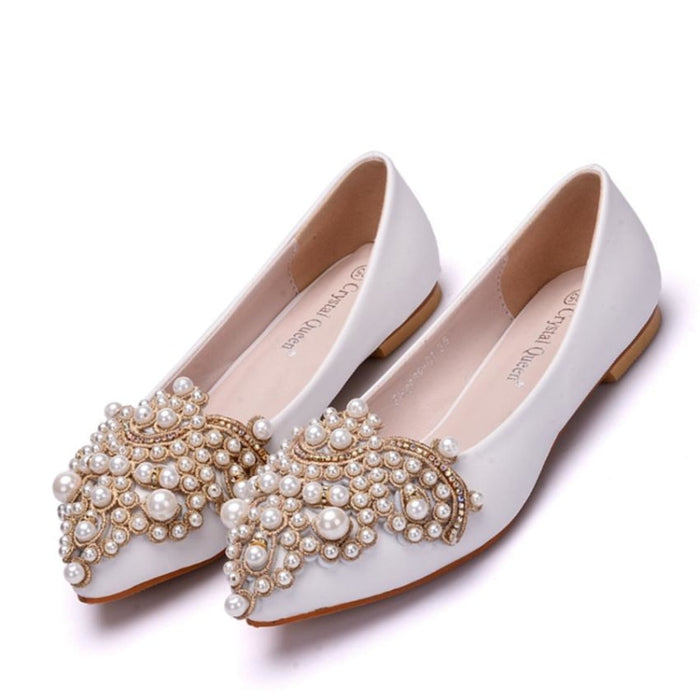 Elegant String Bead Crystal Wedding Flats | Bridelily - wedding flats