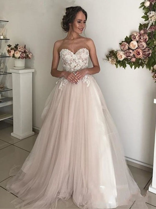 Elegant Sweethart Sleeeveless A-Line Tulle Wedding Dresses - Pink / Floor Length - wedding dresses