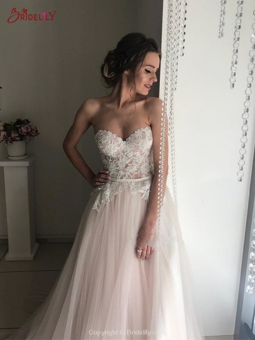 Elegant Sweethart Sleeeveless A-Line Tulle Wedding Dresses - wedding dresses