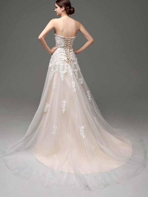 Elegant Sweetheart Beaded Lace Tulle Wedding Dresses - wedding dresses