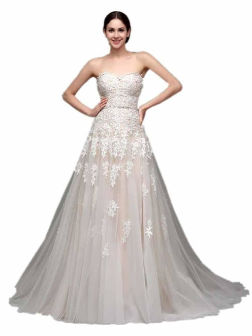 Elegant Sweetheart Beaded Lace Tulle Wedding Dresses - As Picture / Floor Length - wedding dresses