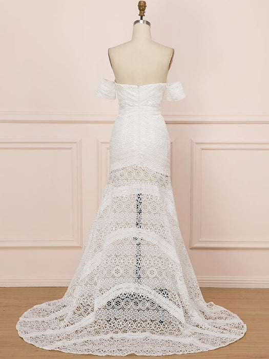 Elegant Sweetheart Lace Mermaid Boho Wedding Dresses - wedding dresses