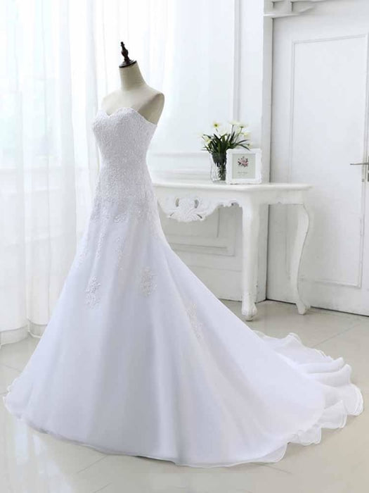 Elegant Sweetheart Lace-Up Mermaid A-Line Wedding Dresses - wedding dresses