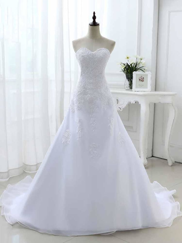 Elegant Sweetheart Lace-Up Mermaid A-Line Wedding Dresses - White / Floor Length - wedding dresses