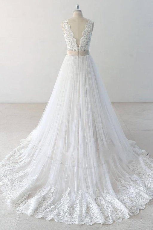 Elegant V-neck Lace Tulle A-line Wedding Dress - Wedding Dresses