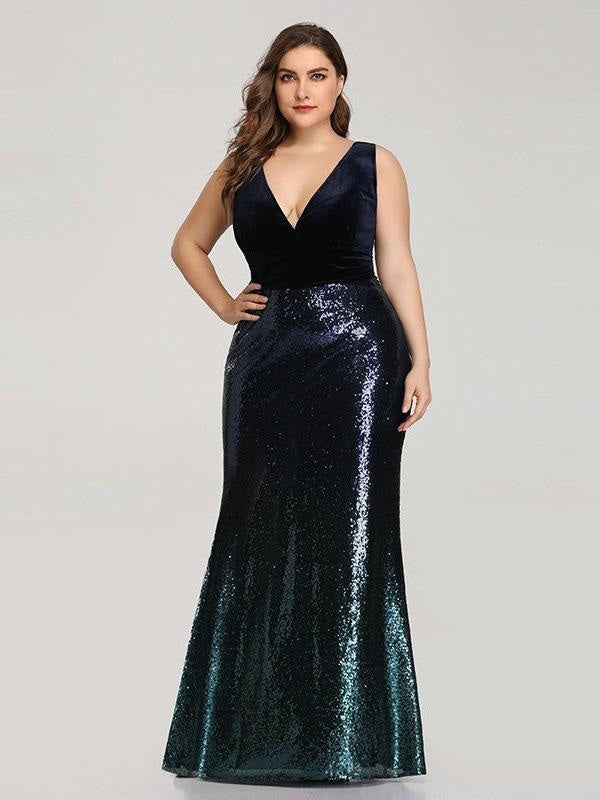 Elegant V-Neck Sequined Mermaid Party Dresses - Dark Navy / 4 / United States - evening dresses