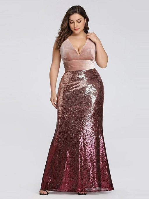 Elegant V-Neck Sequined Pink Mermaid Party Dresses - Pink / 4 / United States - evening dresses