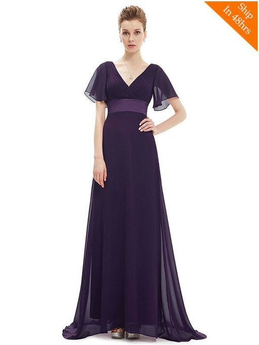 Elegant V-Neck Short Sleeve Chiffon Floor Length Evening Dresses - Purple / 4 / United States - evening dresses