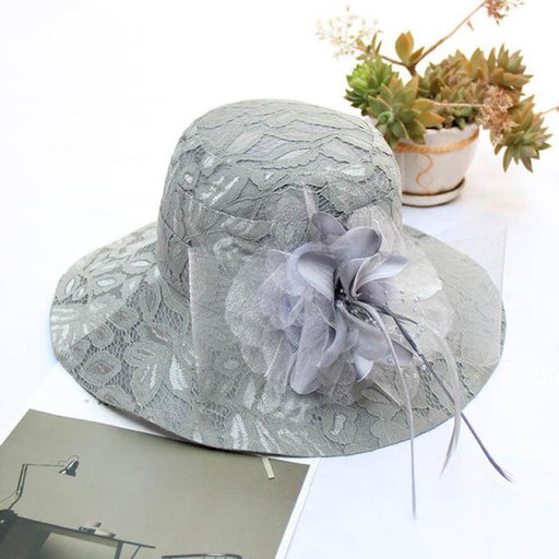 Elegant Vintage Floral Wide Brim Bowler/Cloche Hats | Bridelily - Gray Lace Hat / One Size - bowler /cloche hats
