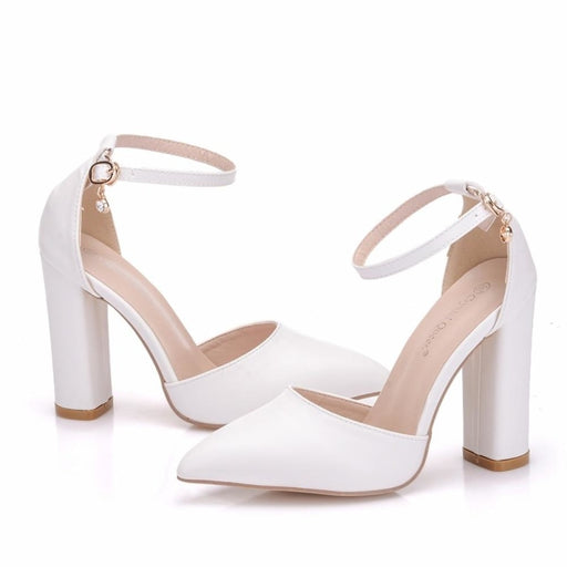 Elegant White High Heel Wedding Sandals | Bridelily - wedding sandals