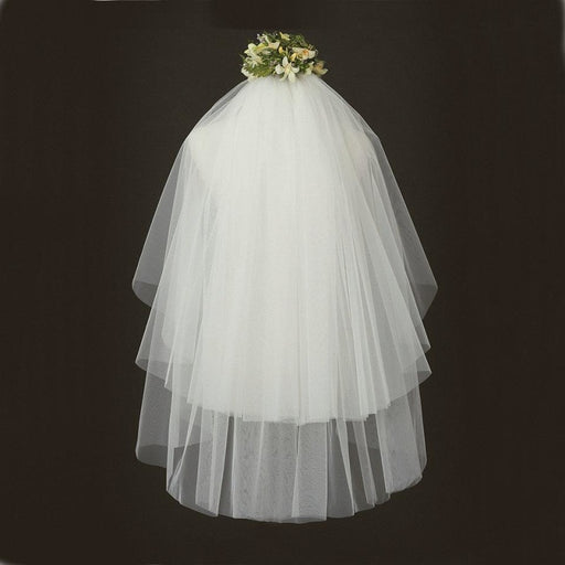 Elegant White Short Tulle With Comb Wedding Veils | Bridelily - wedding veils