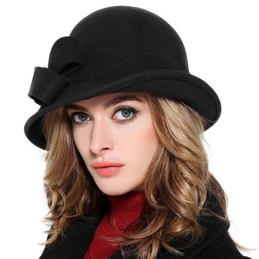 Elegant Wool Felt Bowknot Wide Brim Bowler/Cloche Hats | Bridelily - Black - bowler /cloche hats