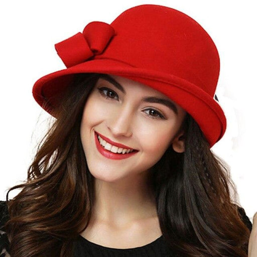 Elegant Wool Felt Bowknot Wide Brim Bowler/Cloche Hats | Bridelily - Red - bowler /cloche hats