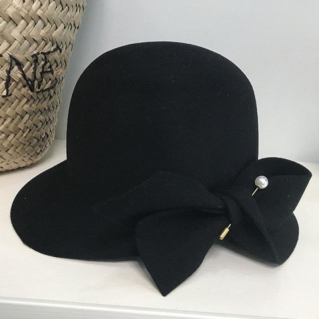 Elegant Wool Felt With Bow Bowler/Cloche Hats | Bridelily - Black - bowler/cloche hats