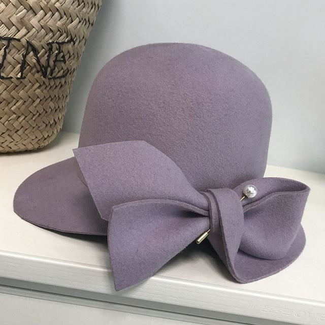 Elegant Wool Felt With Bow Bowler/Cloche Hats | Bridelily - bowler/cloche hats