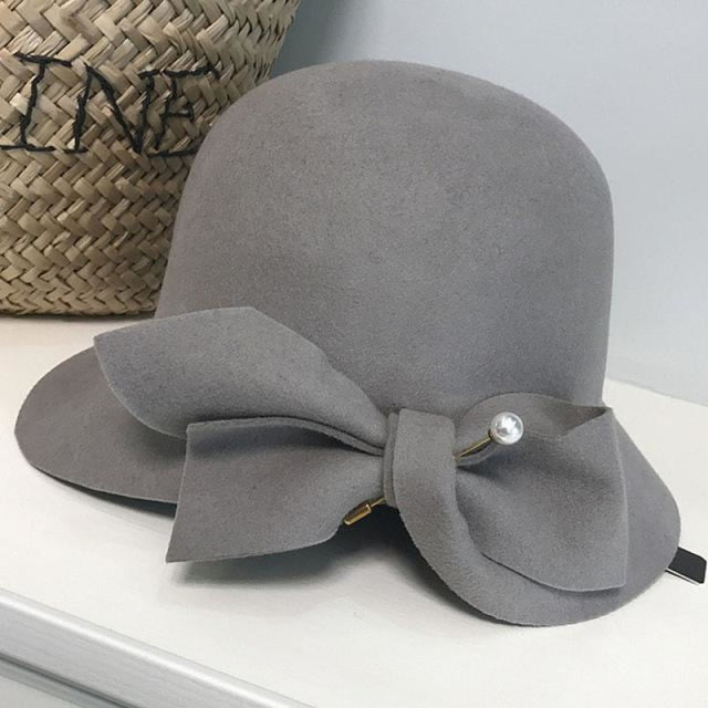 Elegant Wool Felt With Bow Bowler/Cloche Hats | Bridelily - Gray - bowler/cloche hats