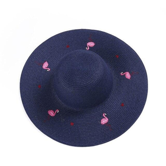 Embroidered Wide Brim Breathable Straw Hats | Bridelily - Dark Blue Sun Hats - straw hats