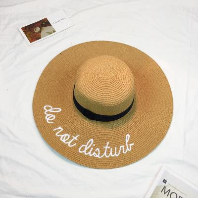 Embroidery Letter Sale With Wide Brim Straw Hats | Bridelily - 5 - straw hats