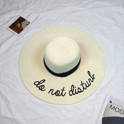 Embroidery Letter Sale With Wide Brim Straw Hats | Bridelily - 1 - straw hats