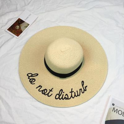 Embroidery Letter Sale With Wide Brim Straw Hats | Bridelily - 2 - straw hats