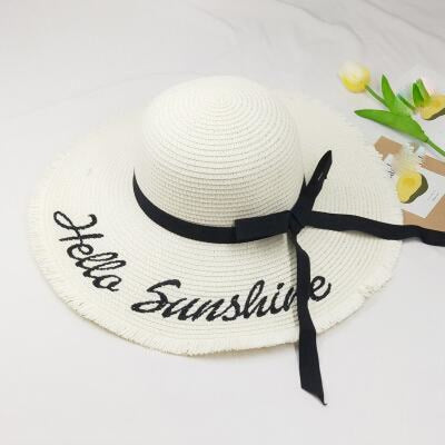 Embroidery Letter Sunshine Straw Beach/Sun Hats | Bridelily - Milk white - beach/sun hats