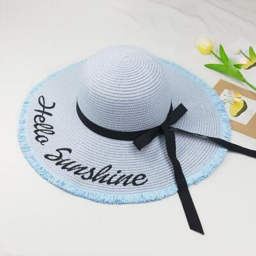 Embroidery Letter Sunshine Straw Beach/Sun Hats | Bridelily - beach/sun hats