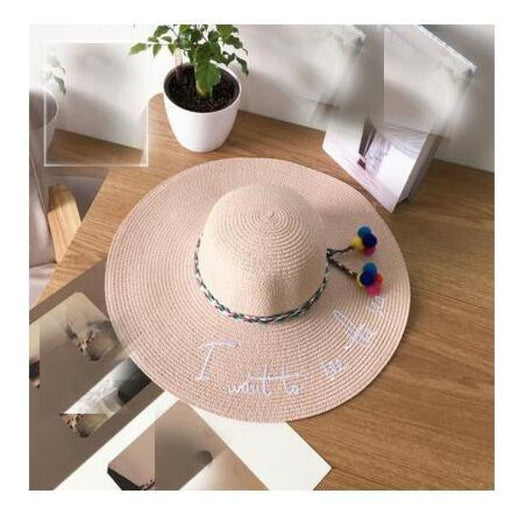 Embroidery Letter Weave Straw Beach/Sun Hats | Bridelily - pink - beach/sun hats