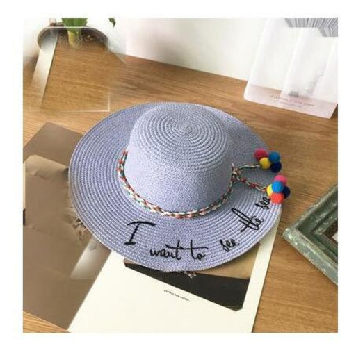 Embroidery Letter Weave Straw Beach/Sun Hats | Bridelily - blue - beach/sun hats