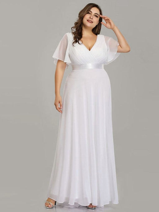 Empire Waist V-neck Half-Sleeves Ruffles Wedding Dresses - wedding dresses