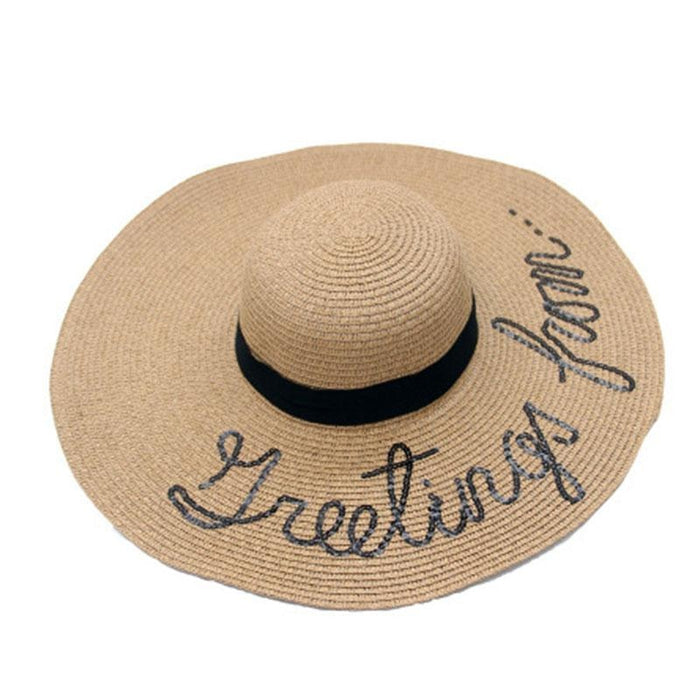 English Letters Hand Painted Brimmed Straw Hats | Bridelily - straw hats