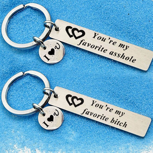 Engraved Letter Double Heart Alloy Keychain Favors | Bridelily - keychain favors
