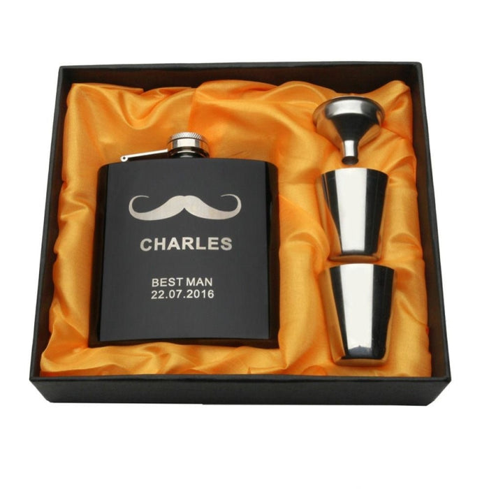 Engraved Mouthstache Gift Personalized Favors | Bridelily - steel flasks
