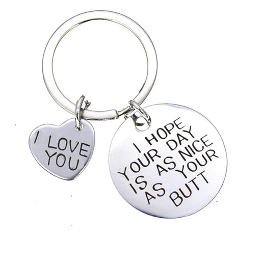 Engraved Two Heart Stainless Steel Keychain Favors | Bridelily - keychain favors