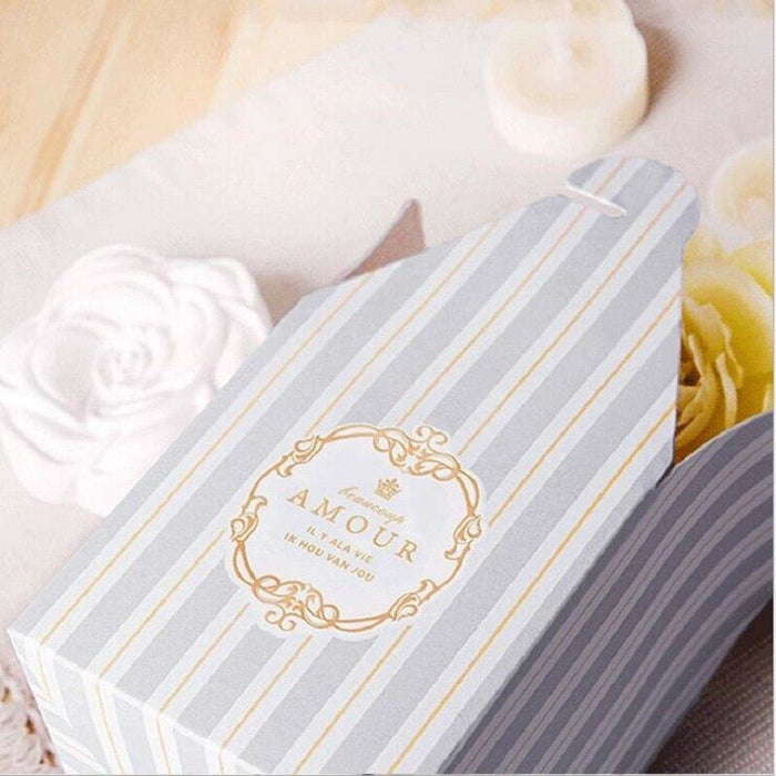 European Stripe Pastry Candy Boxes Favor Holders | Bridelily - Sky blue / 50pcs - favor holders