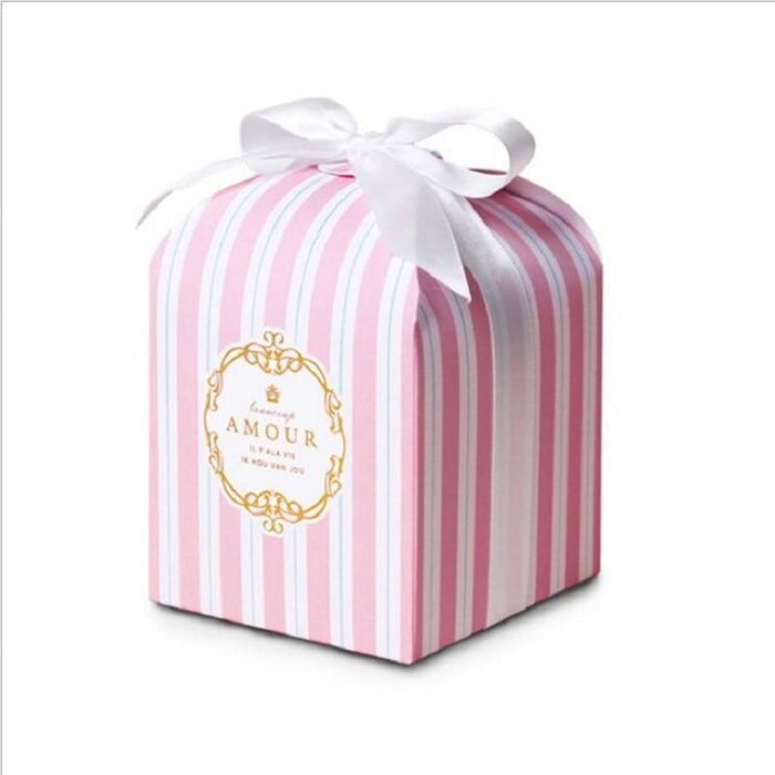 European Stripe Pastry Candy Boxes Favor Holders | Bridelily - Pink / 50pcs - favor holders