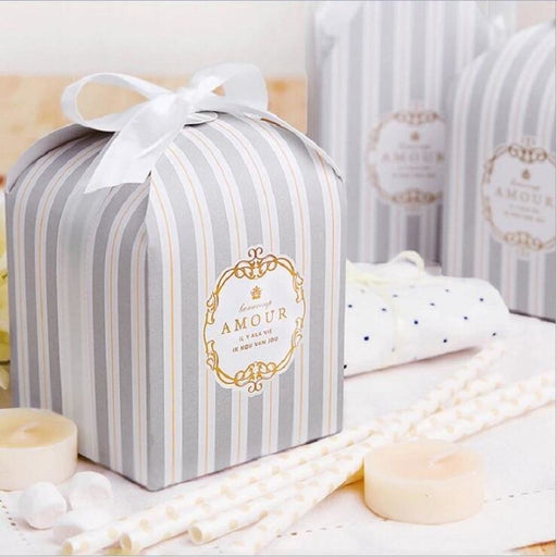 European Stripe Pastry Candy Boxes Favor Holders | Bridelily - Gray / 50pcs - favor holders