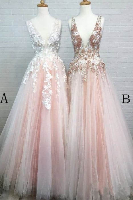 Excellent Modest Excellent Light Pink V Neck Sleeveless Tulle Prom Dress with Flowers and Beads - Prom Dresses