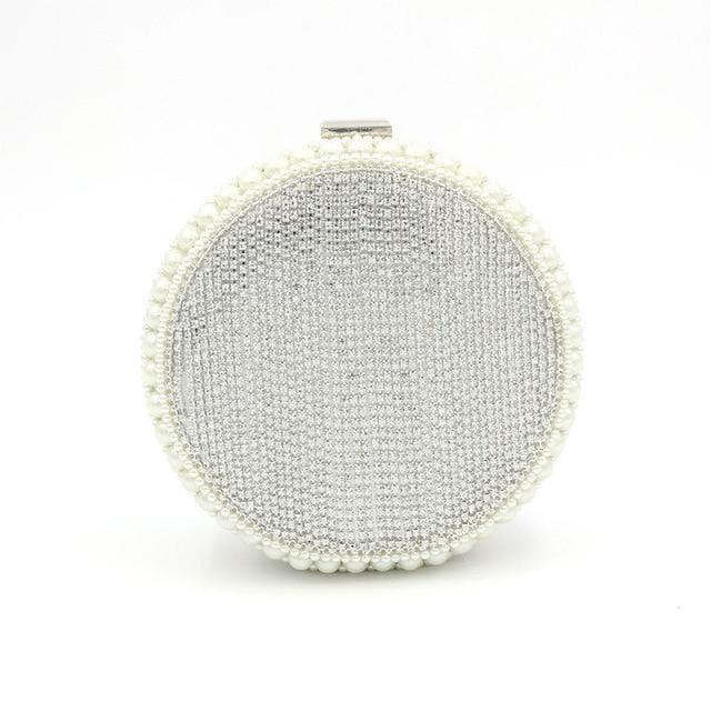 Exquisite Circular Pearl Tassel Wedding Handbags | Bridelily - Sliver - wedding handbags