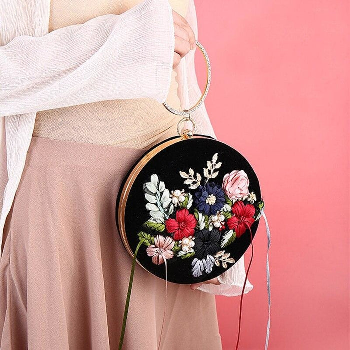 Exquisite Flower Tassel Clutch Round Handbags | Bridelily - wedding handbags