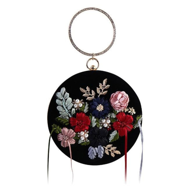 Exquisite Flower Tassel Clutch Round Handbags | Bridelily - One Size / Black - wedding handbags