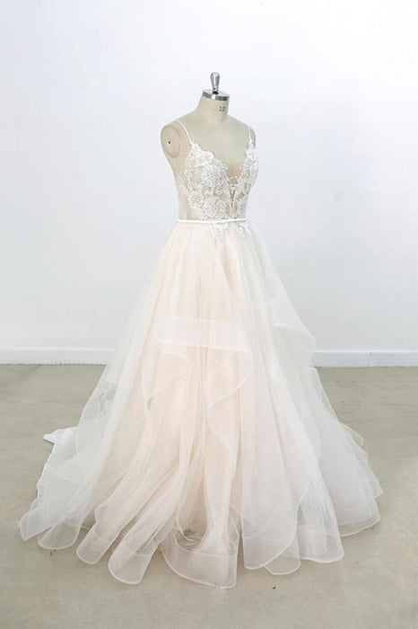 Eye-catching Appliques Tulle A-line Wedding Dress - Wedding Dresses