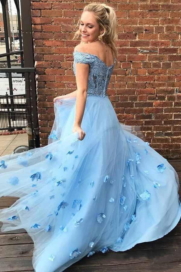 Eye-catching Eye-catching Two Off the Shoulder Tulle Prom with Lace A Line 2 Piece Long Formal Dress - Prom Dresses