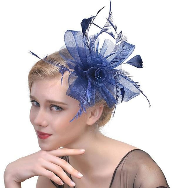 Fancy Veils Feather Flower Clip Fascinators | Bridelily - navy - fascinators