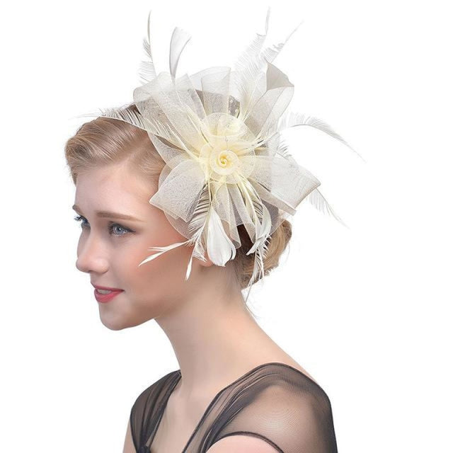 Fancy Veils Feather Flower Clip Fascinators | Bridelily - beige - fascinators