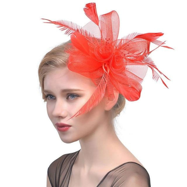 Fancy Veils Feather Flower Clip Fascinators | Bridelily - fascinators