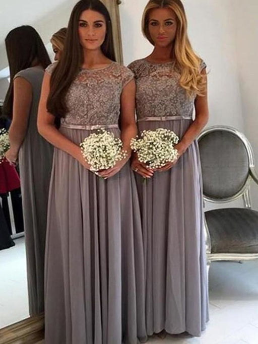 Fashion A-Line/Princess Floor-Length Applique Scoop Chiffon Bridesmaid Dresses YB735 - Bridesmaid Dresses