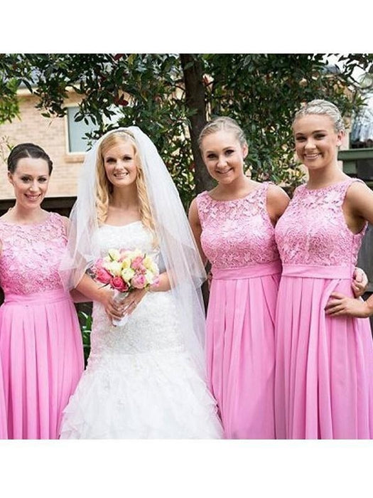 Fashion A-Line/Princess Sleeveless Floor-Length Scoop Lace Chiffon Bridesmaid Dresses YB33PO603 - Bridesmaid Dresses