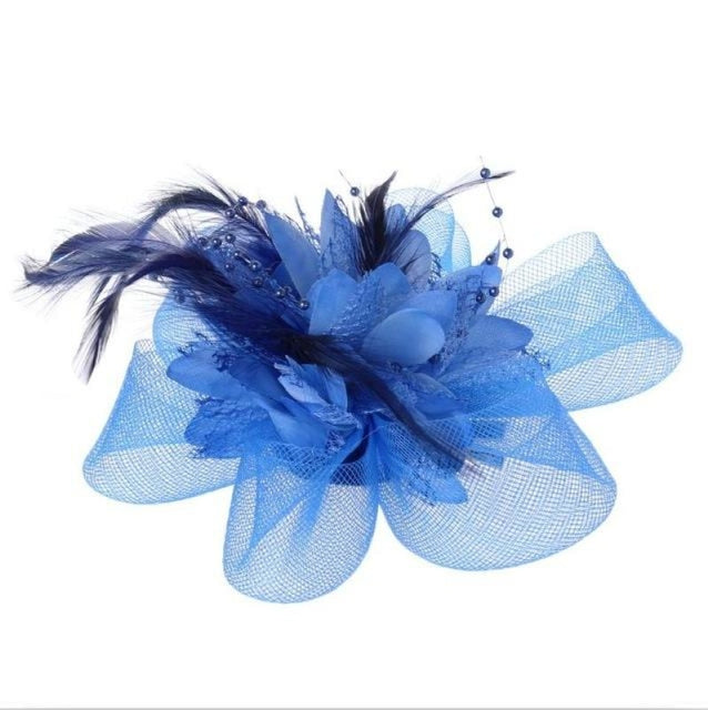 Fashion Beads Mesh Feather Flower Clip Fascinators | Bridelily - Lake Blue - fascinators