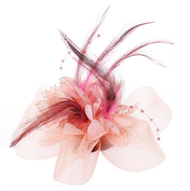 Fashion Beads Mesh Feather Flower Clip Fascinators | Bridelily - Shrimp Pink - fascinators